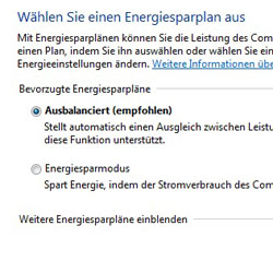 Bild von den Windows 7 Energieoptionen
