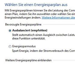 Bild von den Windows 7 Energieoptionen
