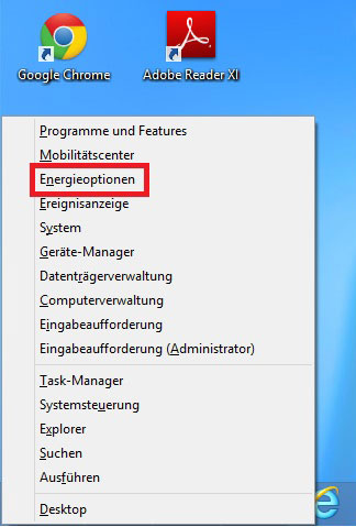 Windows 8 Energie sparen