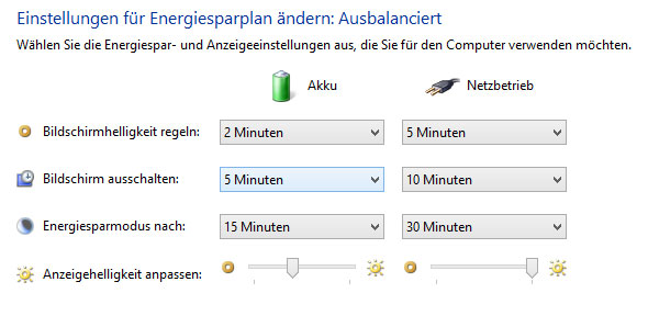 Energiesparplan ausbalanciert Windows 8