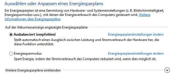 Energiesparplan Windows 8